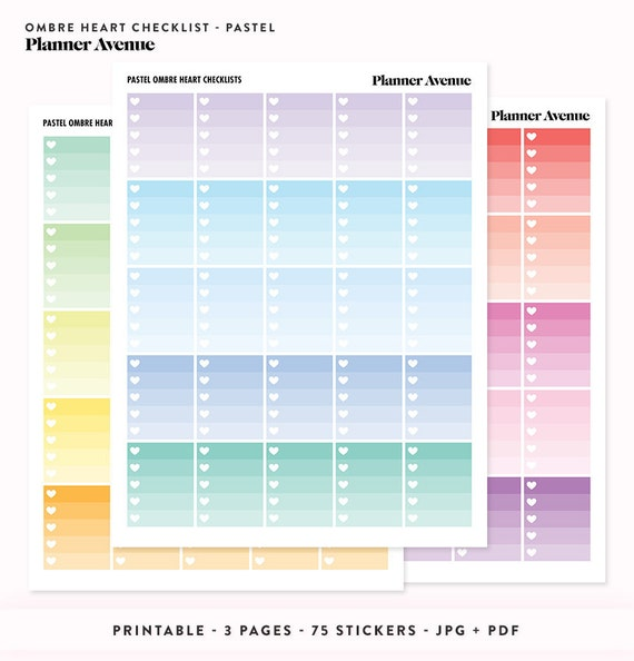 Pastel ombre heart stickers checklist printable erin condren