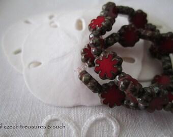 Dark Red Czech Glass Cactus Flower Beads Red Picasso Czech Flower Beads Red Cactus Flower Czech Glass Beads 9mm (10 pcs) 67V3