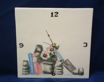 Clock with gardenting supplies