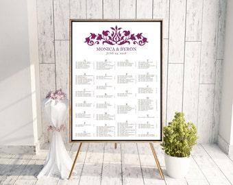 Wedding Seating Chart, Digital Seating Chart, Seating Chart PDF, Alphabetical Seating Chart, By Table, Damask, Purple Seating Chart, Regency