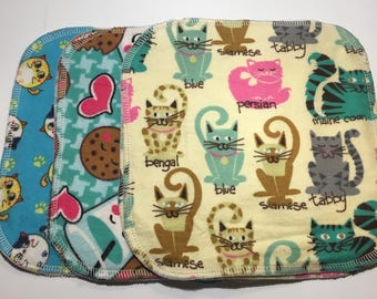 Cloth Wipes - Two layer Flannel - Cats/milk & cookies/cats - Pack of 6