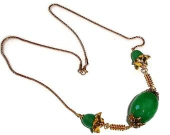 Gemstone Necklace Statement gemstone statement necklace large necklace chunky necklace large pendant Floral necklace Large Gem Green