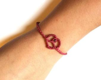 Bracelet macrame heart - Simple Bracelet - Friendship Bracelet - Friendship Bracelet - gift Ideal Valentine's day - macrame jewelry