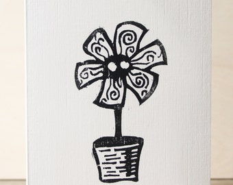 Flower Potted Woodcut Greetings Card