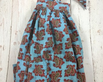Blue and Rec Paisley print half apron with pockets,handmade apron