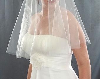 Wedding Veil, Drop Veil with Cascading Rhinestones, Bridal Veil, Rhinestone Veil