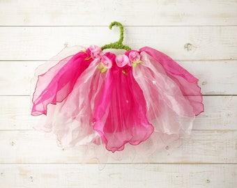 Tulip + Rose Tutu, Flower Tutu, Flower Girl, Floral Skirt, Wedding, Flower Costume, Ballet Skirt, Dancewear, Girl's Dress, Pink Tutu