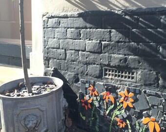 Echinacea Mosaic, mosaic wall art, orange Echinacea.  Orange flower mosaic, Garden Art, Home Decor.