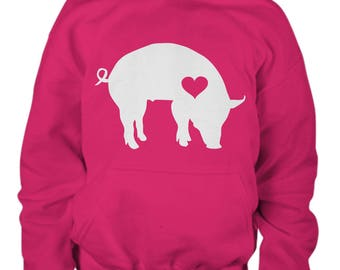 Kids Pig Hoodie, Youth Clothing, Gift for Pig Lover Kid, Pig Lover Clothes, Hoody, Pig Lover Apparel, Piggy, Farm Clothes, Pig Sweater