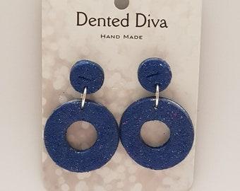 Dented Diva.Clay earrings.Blue glitter hoops. Hand Made.