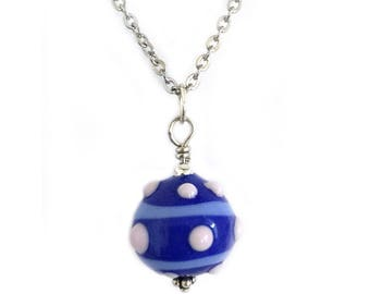 Something Blue Glass Ball Pendant Necklace for Women