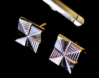 Vintage Swank Cuff Links Tie Clip Set Silver Tone Dimensional Art Deco Style