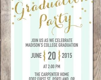 Graduation Party Invitation, Graduation Party, Grad Party Invite, Graduation Invitation, College Graduation Invite, High School Graduation
