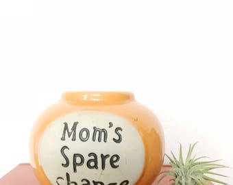 Thrown pottery moms spare change jar, gift for Mom