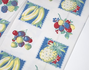 Vintage Tablecloth 50's, fruit in repeating blue square pattern on white background 1950's