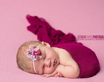 Dark Raspberry Stretch Knit Baby Wrap Newborn Photography