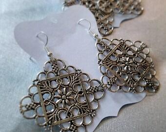 Silver Square Medallion Earrings
