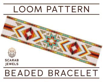 Native American Style Pattern | Loom Beading Bracelet | Cuff Bead Pattern | Miyuki Delica | PDF Instant Download
