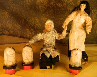 Doomed legacy of innocent souls (Last vision of Yama-Uba) ooak porcelain dolls