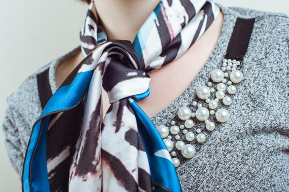 Fashion City Scarf, Printed Scarf, Square Scarf, Neck Scarf, Satin Scarf, Soft Scarf, Women Clothing Wearable Art