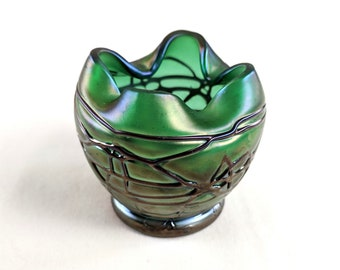 Loetz style small cabinet vase, iridescent green with impressed overlay, hand crafted