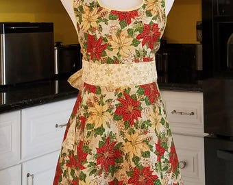 Poinsettia Yellow and Red Women's Apron