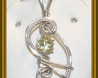 1ct Lemon Yellow Quartz Sterling Silver Pendant with FREE Chain