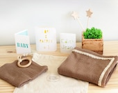 Double gauze blanket, lace gauze blanket, newborn gift, baby shower gift, baby swaddle, brown muslin blanket, summer blanket, baby lovey