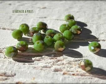 Beads 4 mm Olivine Abacus iridescent X 25