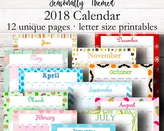 Themed Printable Calendar 2018, Monthly Planner 2018, Wall Calendar, Desk Calendars, Holiday Printable Calendars, Letter, Instant Download