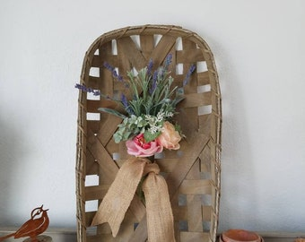Tobacco Basket with Faux Flowers Split Wood Basket farmhouse Mothers Day