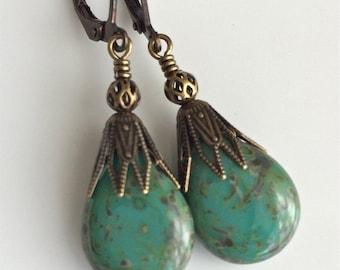 Green Glass Earrings  Bohemian Earrings  Glass Teardrops  Czech Glass  Green Turquoise Glass  Brass Earrings  Gypsy Dangles