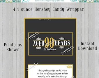 90th Birthday Party Favors 4.4 ounce Large Hershey's Candy Bar Wrappers