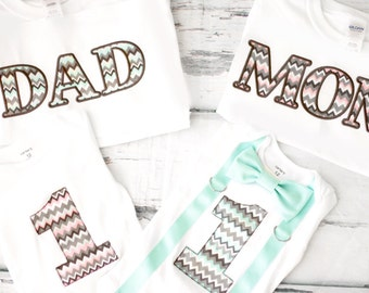 Twin girl boy Chevron Mint Green pink cake smash outfit Twin boy girl matching Parents shirts first birthday outfit Suspender bow tie set