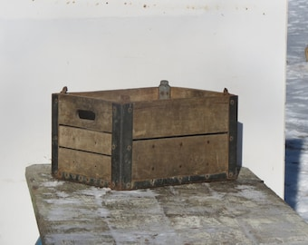Old Johnsons Dairy Wood and Metal Milk Crate