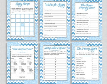 Blue Baby Shower Games Package, Six Baby Shower Games Bundle, Light Blue Chevron Mums, Floral, Baby Boy, INSTANT PRINTABLE