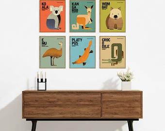 Australian Wildlife, Nursery Animals Wall Art, Kids Educational Prints, Fun Quirky Australian Animal Poster Illustrations, Set of 6 Prints