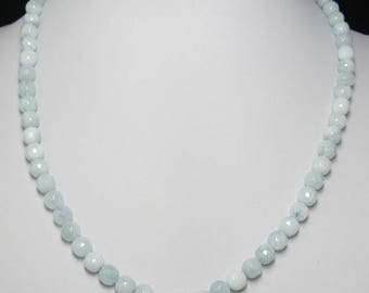 Aquamarine faceted and 925 Silver 18 inch Necklace