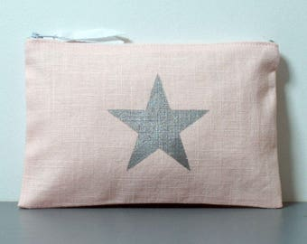 Clutch in pale pink linen with a Silver Star | make-up | Toiletry Kit | fabric pouch | gift idea for woman
