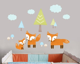 Fox Wall Decal, Peel and Stick Fox Decal, Reusable Fabric Woodland Trails Decals