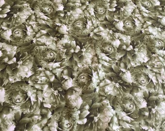 SALE Flourish Green Roses Fabric By Debbie Beaves of The Violet Patch for RJR Fabrics, rose Fabric, 3 yards+
