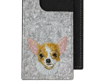 Chihuahua - A felt phone case with an embroidered image of a dog.