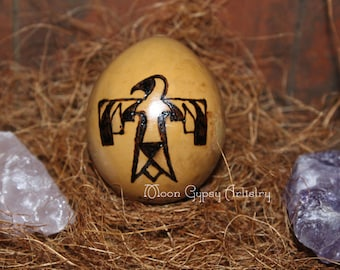 Thunderbird-Moon Glyphs-Elemental Egg Gourd-Pyrography-Woodburning-Handmade Art