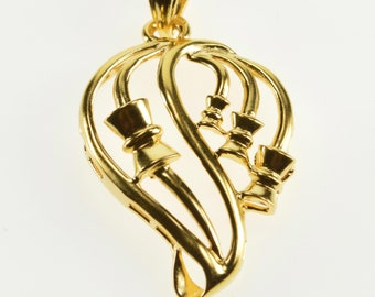 21K Fancy Swirl Bow Detail Design Curvy Pendant Yellow Gold