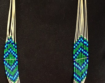 Liquid Silver Multi Strand Necklace-Malachite, Turquoise, and Lapis Beads Vintage- Navajo Necklace Liquid Silver Native American Vintage