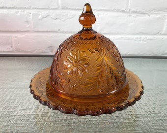 Indiana Glass Company Sandwich Pattern Amber Colored Dome Covered Butter Dish