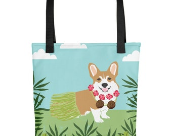 Corgi Hula Dancer Tropical Tote Bag - gifts for corgi lovers dog breeds