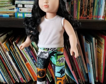 "Doll Leggings, 18"" Doll Clothes, Dinosaur Doll Pants"