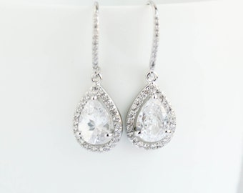 Bridal Earrings, White Gold Earrings,White  Gold Drop Earrings, White Gold Dangle Earrings,White Gold  Dipped Earrings, Bridal