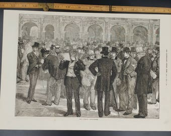 The Liverpool Cotton Market Large Antique Engraving